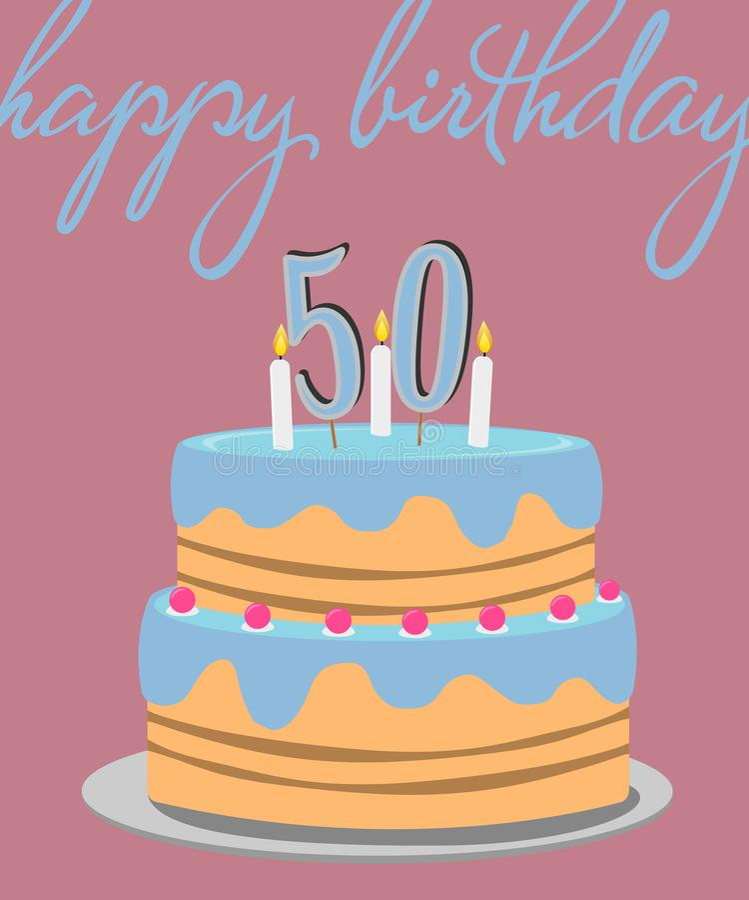 Happy 50th Birthday Greeting Card With Birthday Cake Illustration