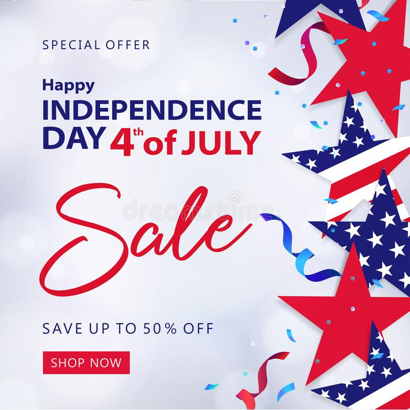 Fourth of July Sale. 4th of July holiday banner. vector illustration