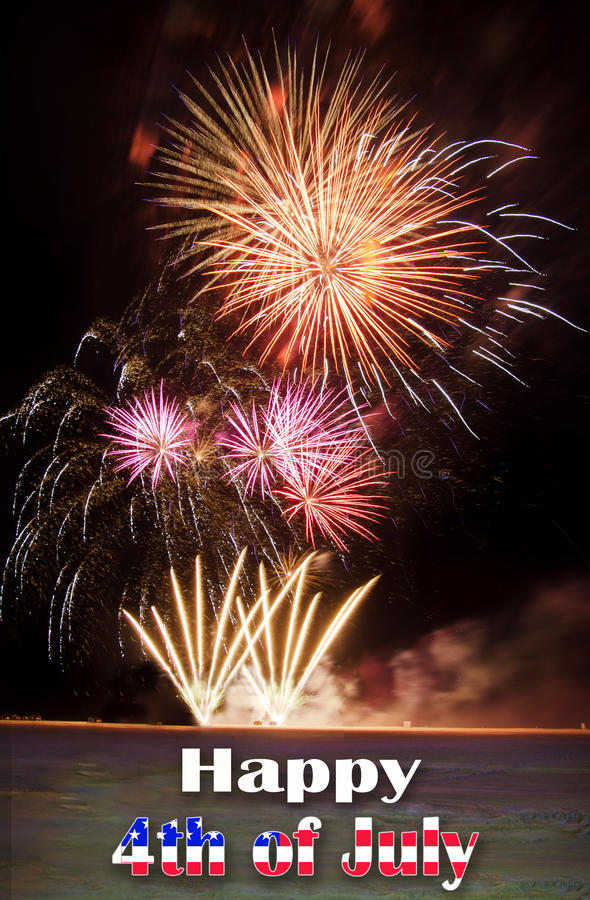 Happy 4th of Jully with fireworks stock photo