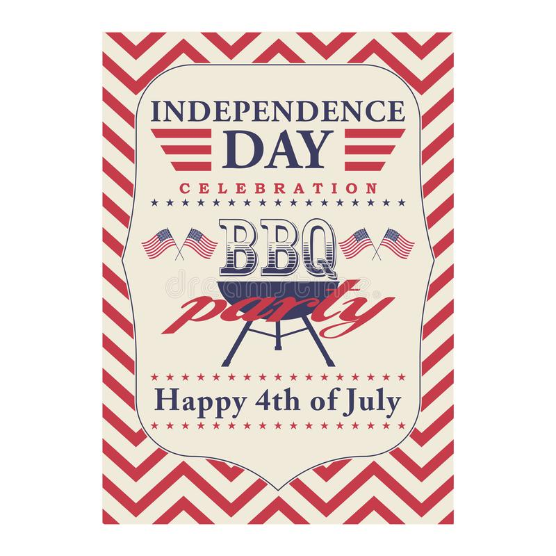 Happy 4th of July BBQ grill poster. Template for fourth of July BBQ party. USA independence day background. Vector EPS vector illustration