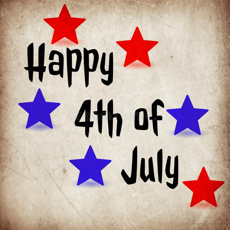 Happy 4th of July. Celebration. Card. Poster. Typography. Stars. USA. Independence Day vector illustration
