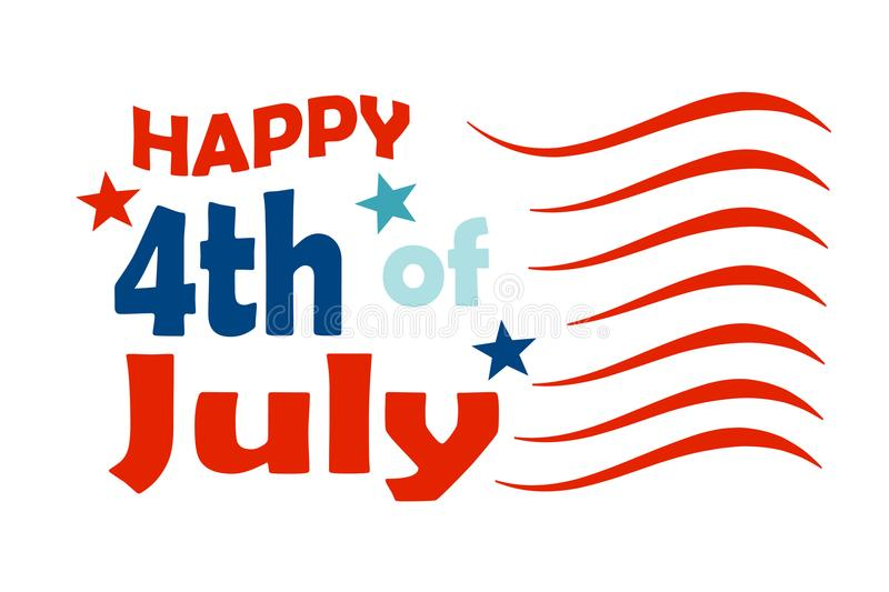 Happy 4th of July design. An illustration of the text Happy 4th of July for the US independence day royalty free illustration