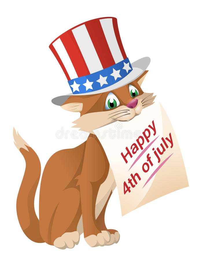 Download Happy 4th Of July. Funny Cat In In The Patriotic Hat Congratulate  Stock Vector