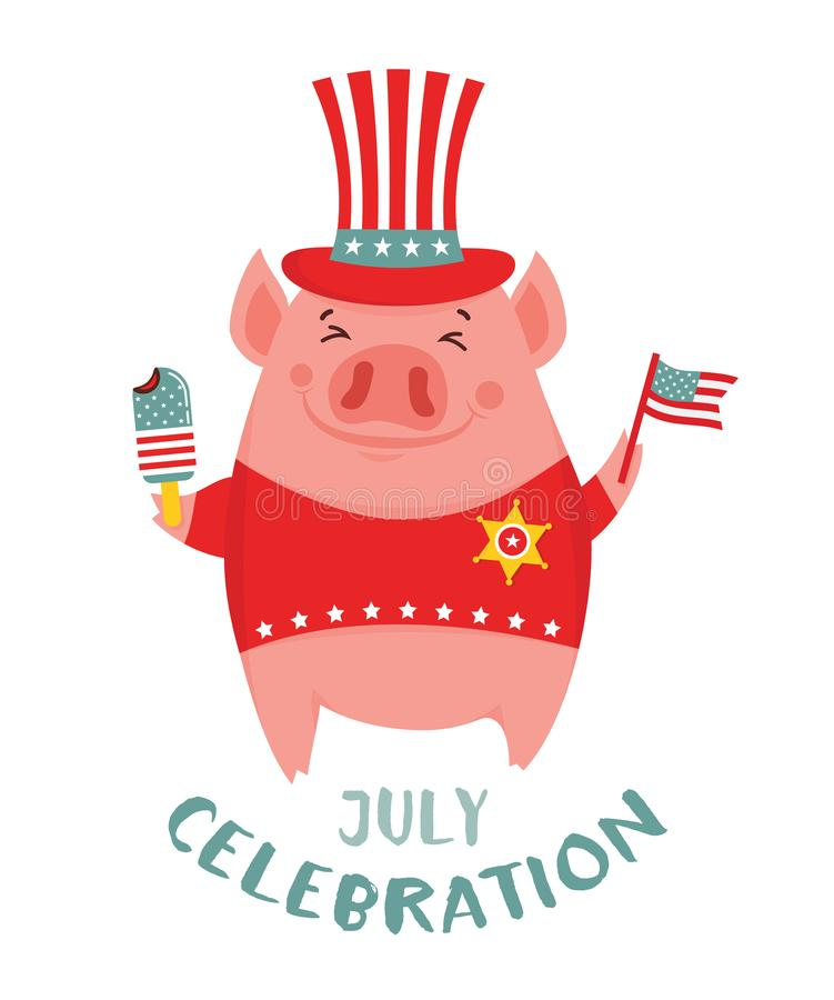 Happy 4th of July. Funny pig celebration USA independence day holding an ice cream and a American flag. Greeting card. -. Vector illustration stock illustration