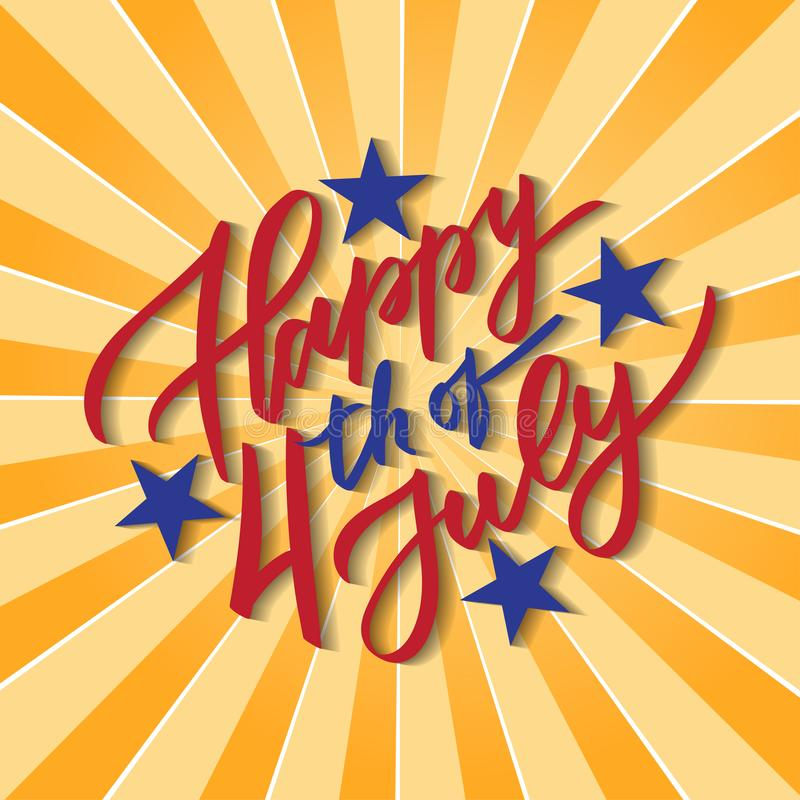 Happy 4th of July - hand-writing, calligraphy, typography, lettering. Yello ray background. For greeting card, badge, label, royalty free illustration