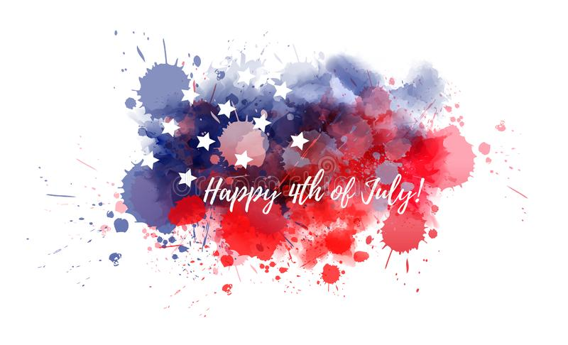 Happy 4th of July. Holiday in United States of America. Abstract watercolor background with stars in colors of USA flag stock illustration
