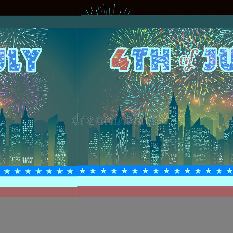 Happy 4th July independence day with fireworks background royalty free illustration