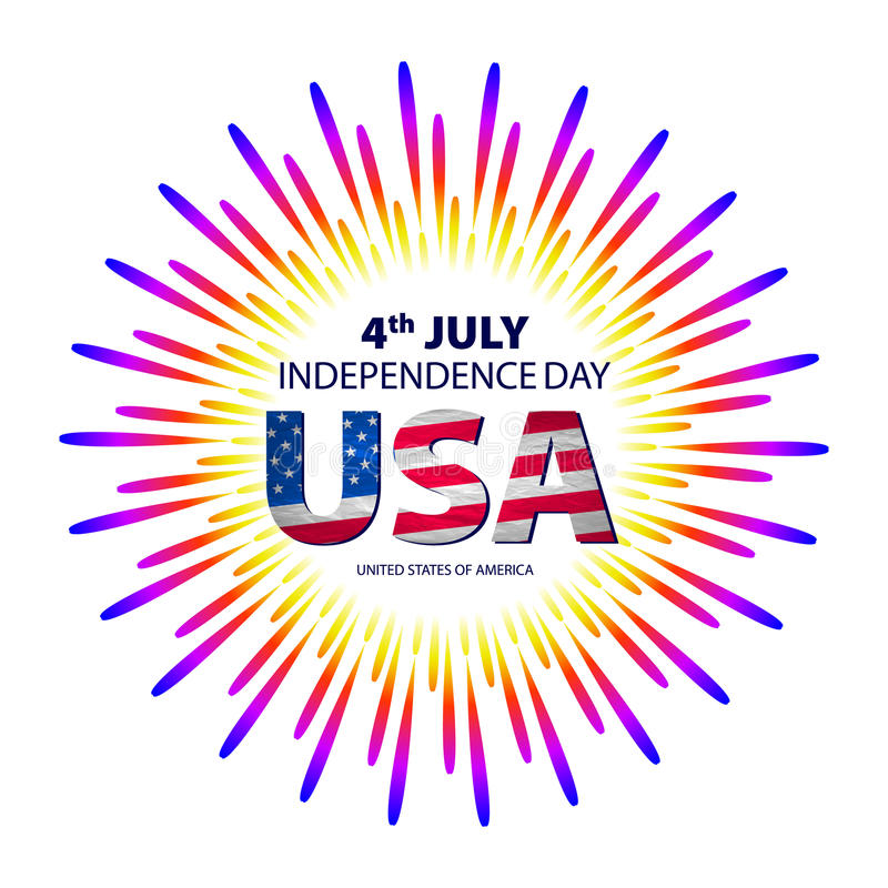 Happy 4th July independence day with fireworks background. vector vector illustration