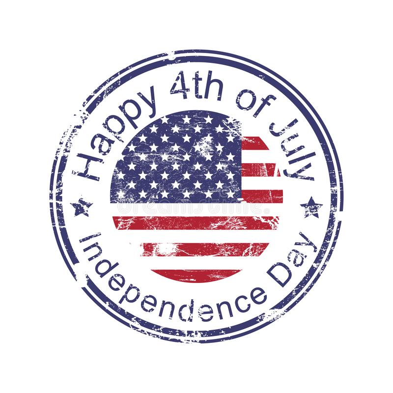 Happy 4th of July, Happy Independence Day stamp, USA American grunge rubber stamp with USA flag, isolated on white background, vec stock illustration