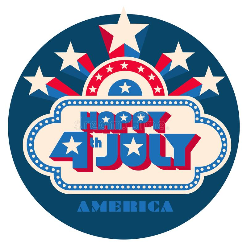 Happy 4th of July pop art logo with star burst. Retro look 70s red white and blue Independence Day stock illustration
