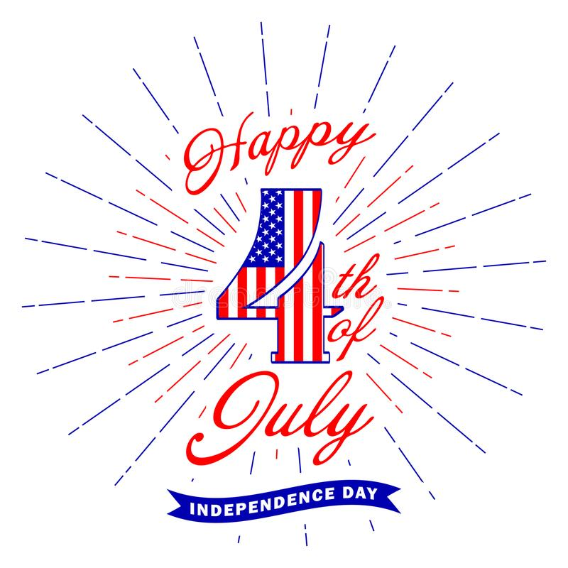 Happy 4th of July text lettering and fireworks flash. Fourth of July design element. USA Independence day decoration vector illustration