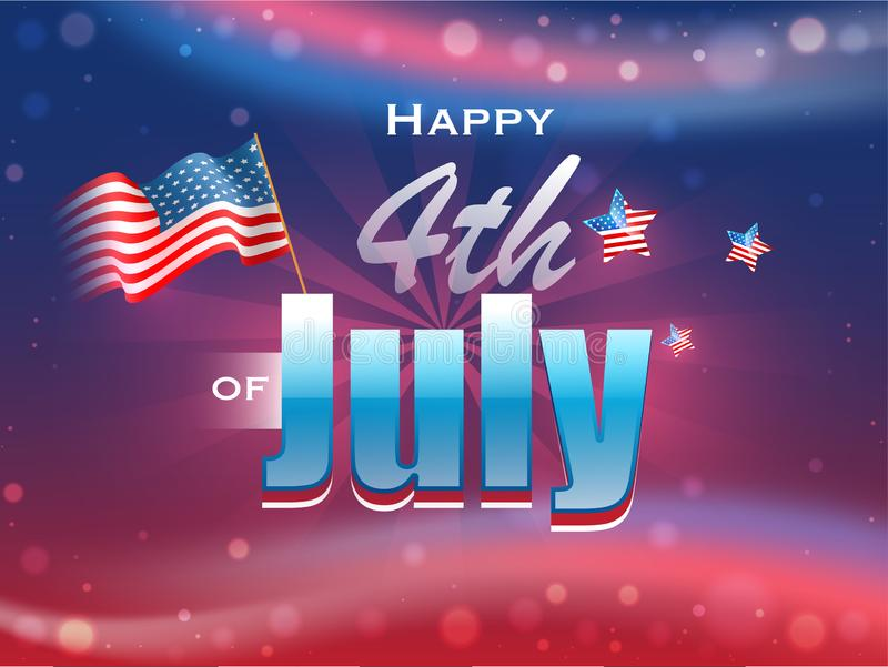 Happy 4th Of July text with wavy American Flag and stars. royalty free illustration