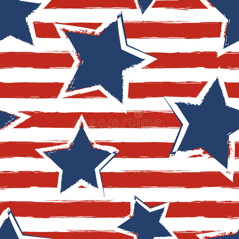 Happy 4th of July, USA Independence Day background. Vector seamless flag pattern, watercolor blue star and red stripes. Abstract design concept for greeting stock illustration