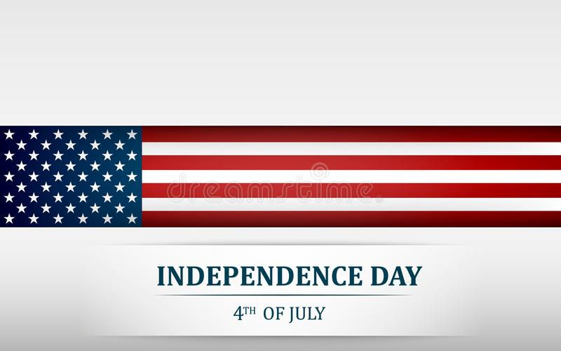 Happy 4th of July, USA Independence Day. Fourth of July greeting card template with american national flag. Vector vector illustration