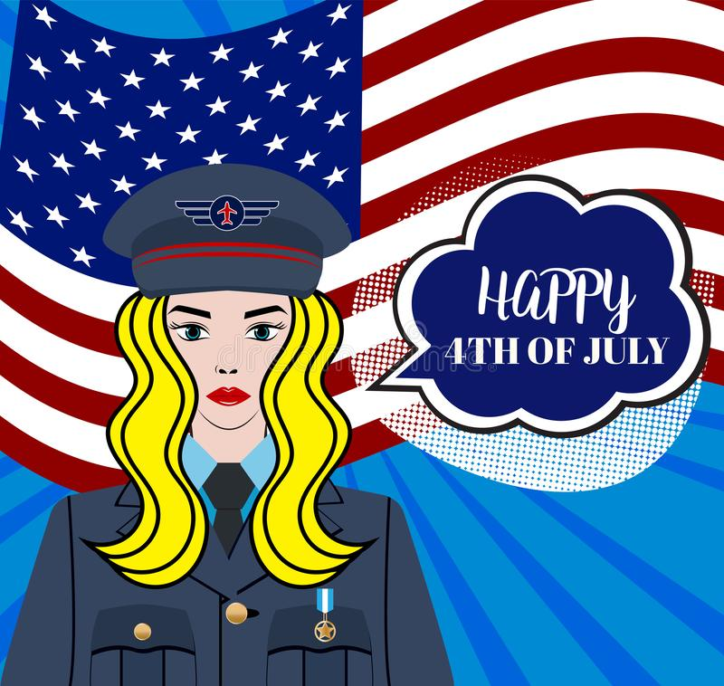 Happy 4th of July USA Independence Day - greeting card with waving american national flag. royalty free illustration