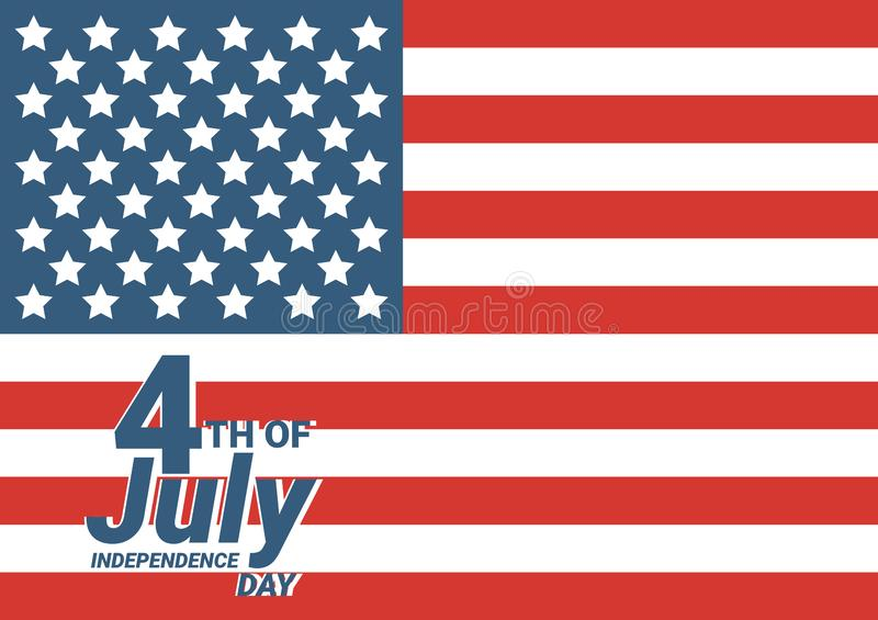 Happy 4th of July USA Independence Day greeting card with waving american national flag and hand lettering text design. Vector stock illustration