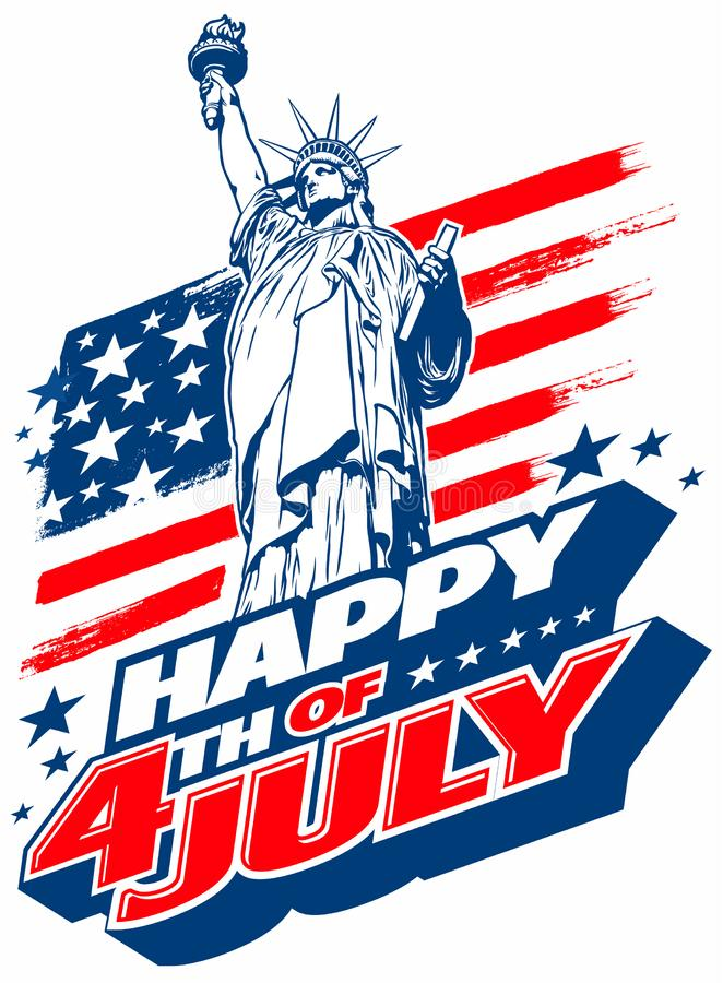 Happy 4th of July USA Independence Day greeting image, with american national flag, statue of liberty and lettering text design. vector illustration