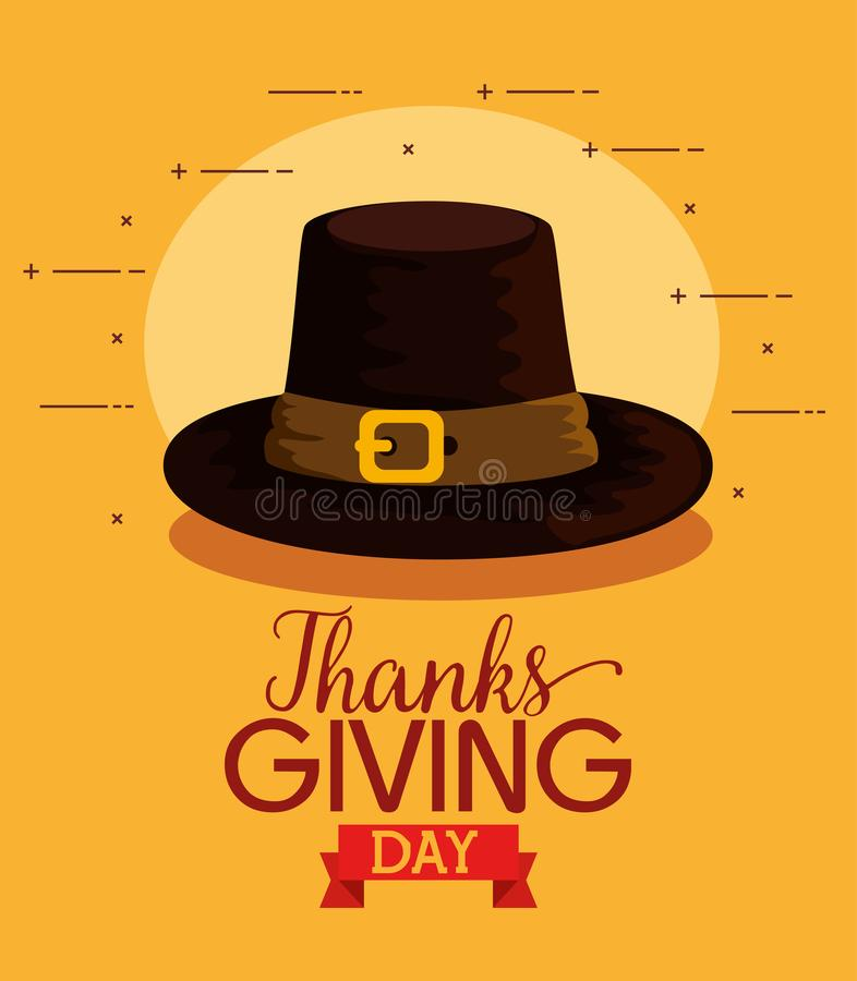 Happy thanks giving card with pilgrims hat stock illustration