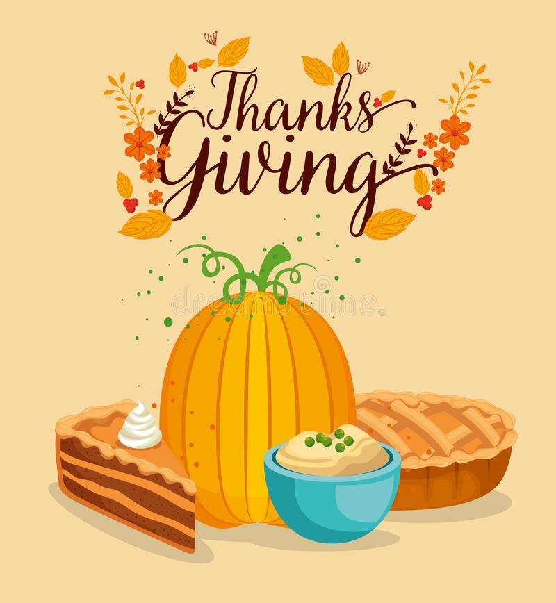 Happy thanks giving card with pumpkin stock illustration
