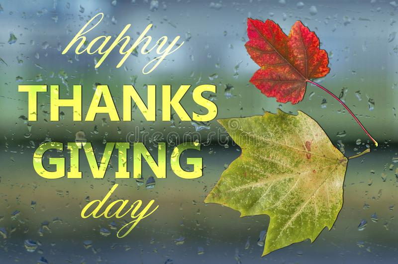 Happy thanks giving day written on window with raindrop spray bubble. Condensation royalty free stock photography