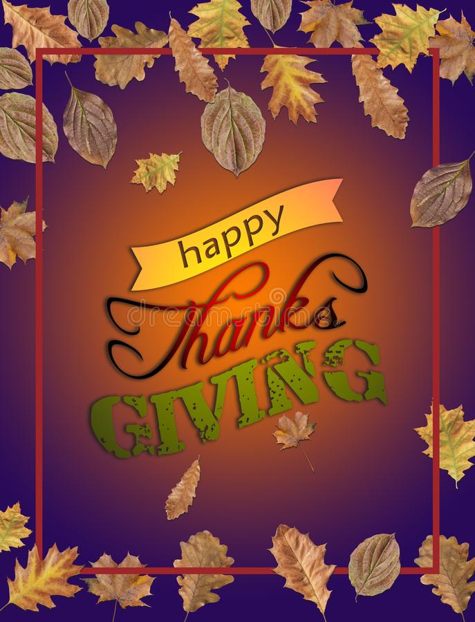 Happy Thanks Giving with several leaves and bordo frame. On purple background royalty free stock photos