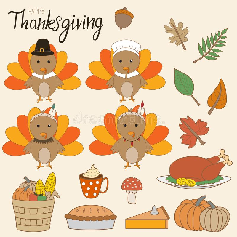 Happy Thanks giving vector little cute turkey pilgrims and red i stock illustration