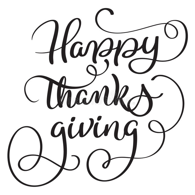 Happy, thanks, giving words on white background. Hand drawn Calligraphy lettering Vector illustration EPS10 vector illustration