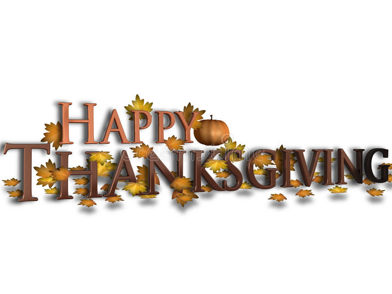 Happy Thanksgiving. 3D render of Happy Thanksgiving with leaves and pumpkin