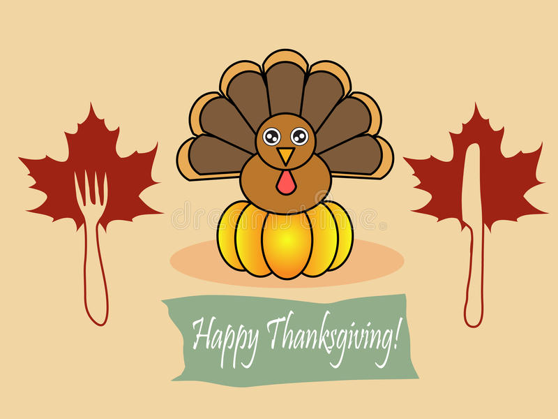 Happy thanksgiving. Illustration of turkey with banner happy thanksgiving royalty free illustration