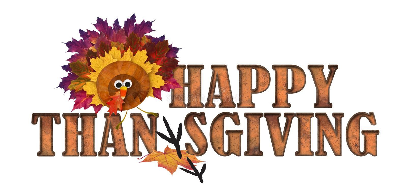 Happy Thanksgiving Art Logo with Autumn Leaves and Turkey Candy Corn Nose royalty free illustration