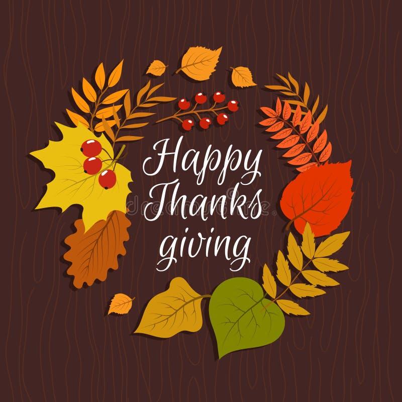 Happy thanksgiving. Autumn leaves november nature background. September decorations sticker banner, vintage vector royalty free illustration
