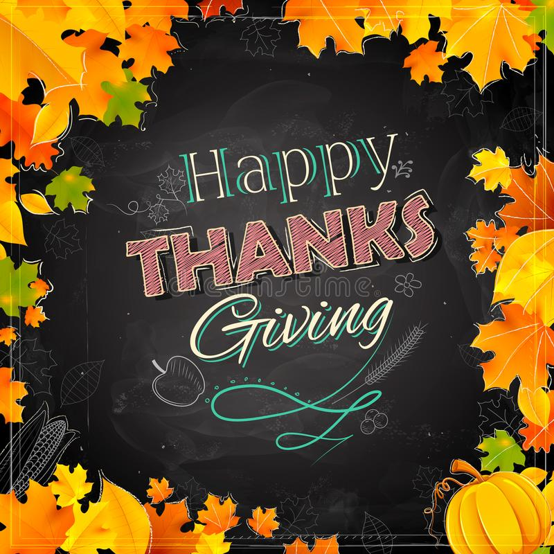 Happy Thanksgiving background with maple leaves stock illustration