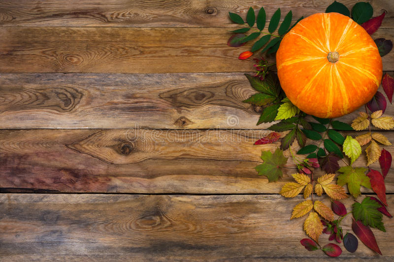 Download Happy Thanksgiving Greeting With Fall Leaves On Rustic Wooden B Stock Image