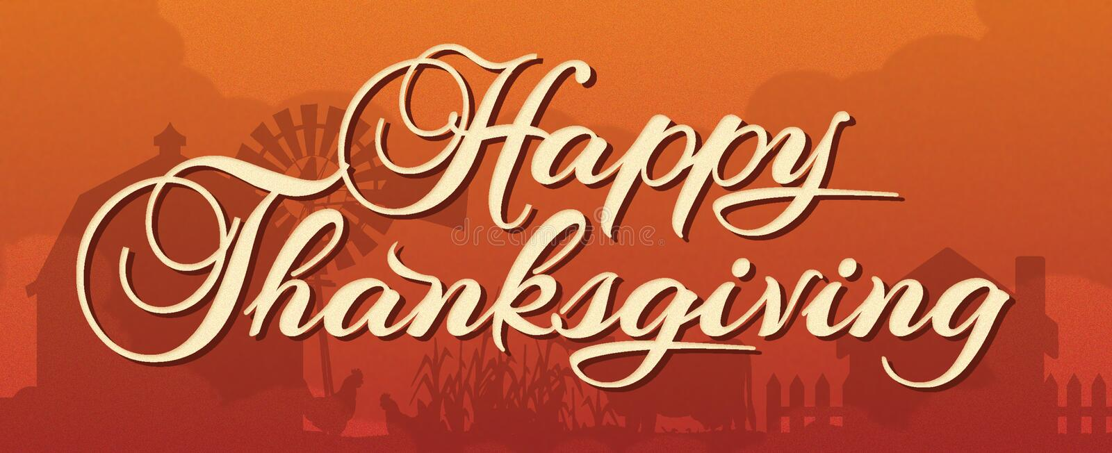 Happy Thanksgiving Banner with Farm Scene. In background autumn colors orange brown pumpkin calligraphy cursive lettering royalty free illustration