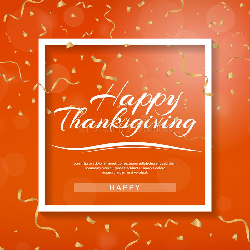 Happy Thanksgiving banner. Invitation design for a Thanksgiving dinner or party. Vector template, can be used for poster, banner, royalty free illustration