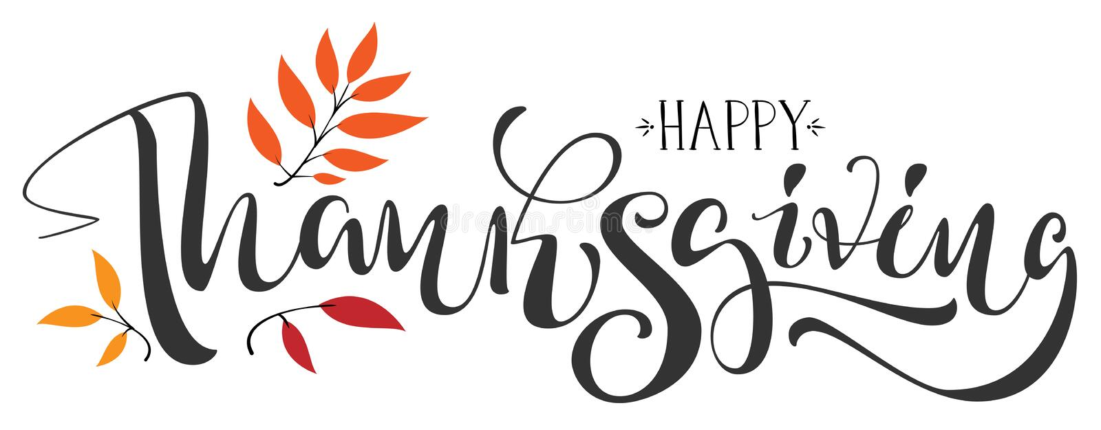 Happy Thanksgiving calligraphy text for greeting card. Isolated on white vector illustration