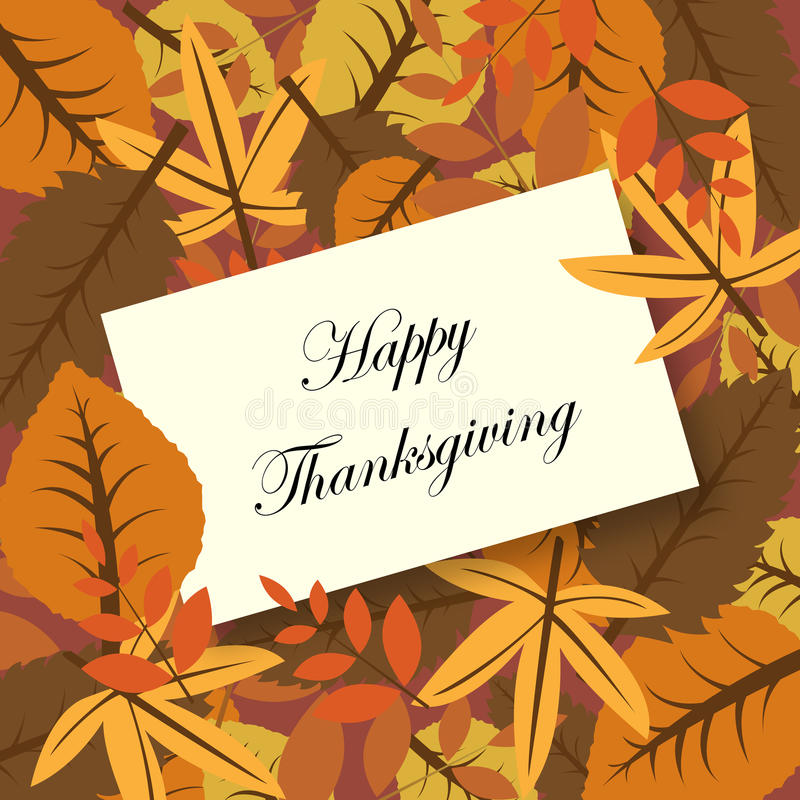 Happy thanksgiving card. Illustration of a greeting card for Thanksgiving with autumnal leaves.EPS file available