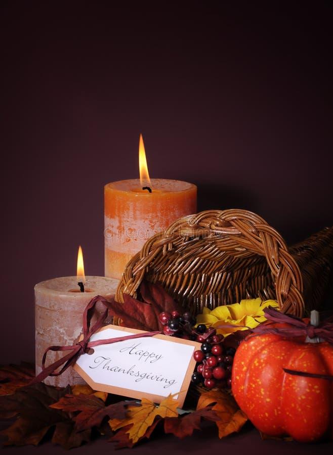 Free Happy Thanksgiving Cornucopia Wicker Basket Vertical. Royalty Free Stock Images - 45934679