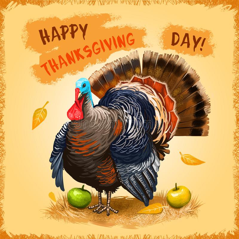 Happy Thanksgiving Day advertising poster, promotional banner. National holiday of blessing harvest. Digital art illustration of. Cute turkey with autumn royalty free illustration