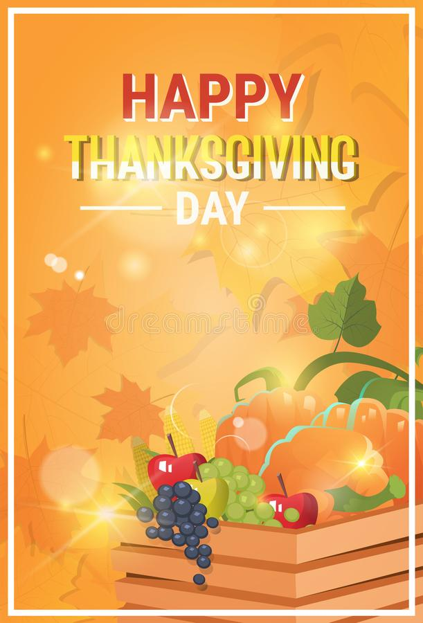 Happy Thanksgiving Day Autumn Traditional Holiday Greeting Card royalty free illustration
