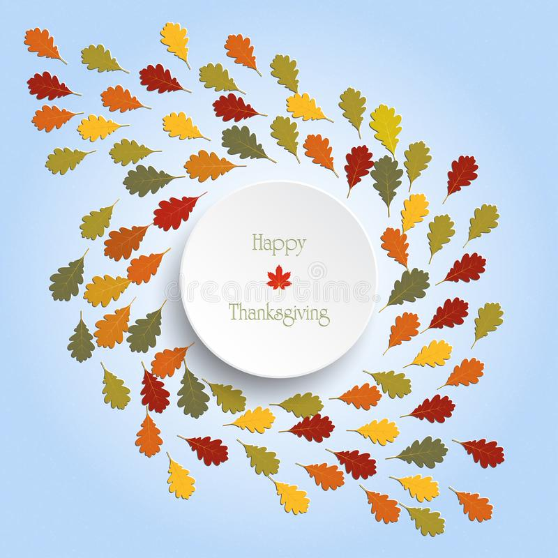 Happy Thanksgiving Day background with autumn colorful tree leaves stock illustration