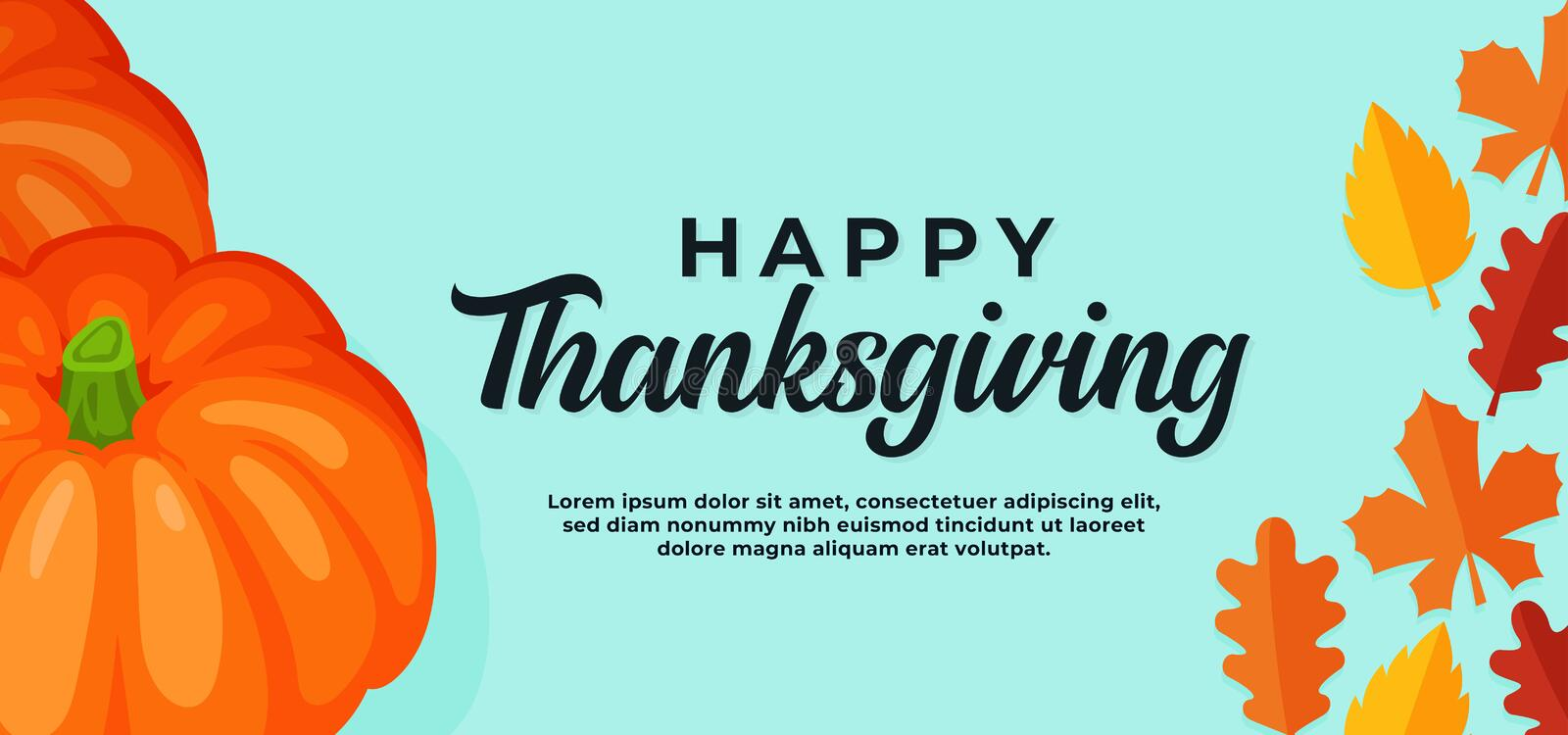 Happy thanksgiving day background. pumpkin illustration with fall dry leaves vector illustration banner template. Eps 10 royalty free illustration