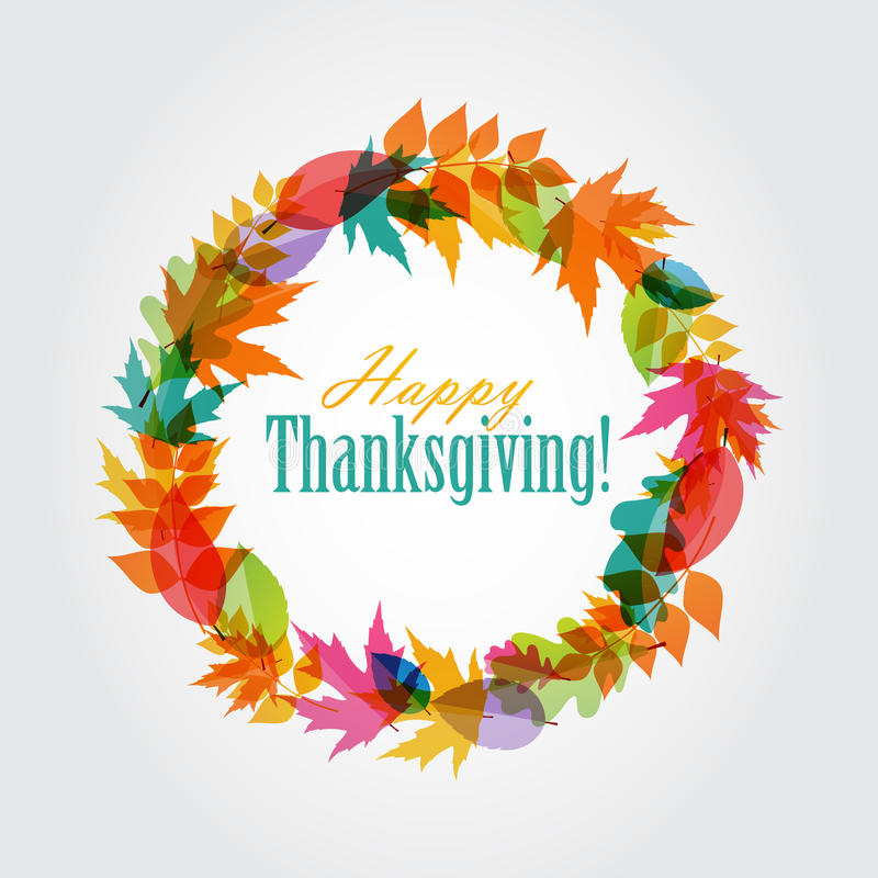 Happy Thanksgiving Day Background with Shiny. Autumn Natural Leaves. Vector Illustration EPS10 stock illustration