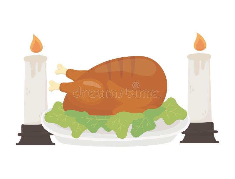 Happy thanksgiving day baked turkey burning candles dinner vector illustration