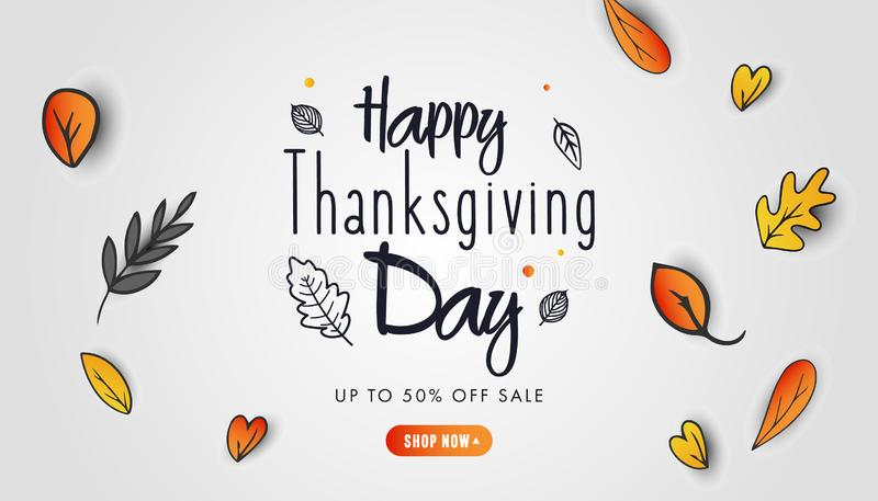 Happy Thanksgiving Day banner design with fall leaves on grey background royalty free illustration