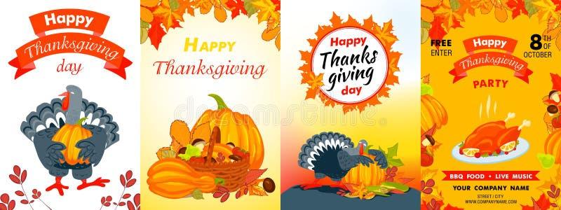 Happy Thanksgiving day banner set, cartoon style royalty free illustration