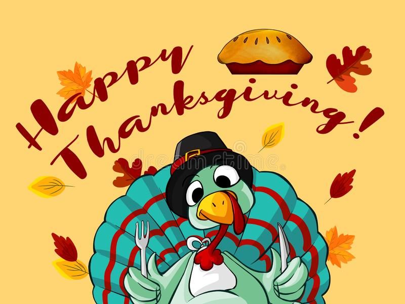Thanksgiving Day background with turkey and leaves stock photos