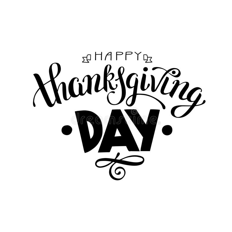 Download Happy Thanksgiving Day Black And White Handwritten Lettering Ins Stock Vector
