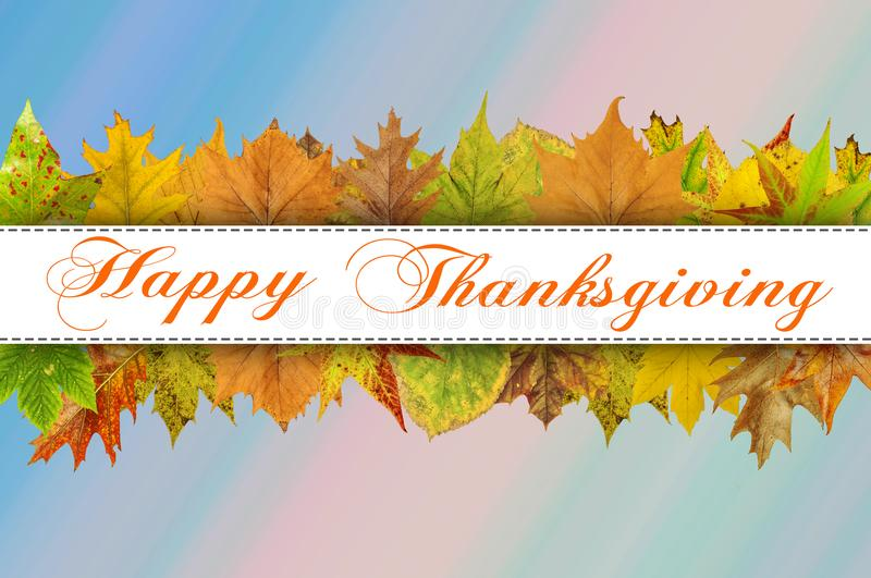Happy Thanksgiving Day on blue background royalty free stock photos