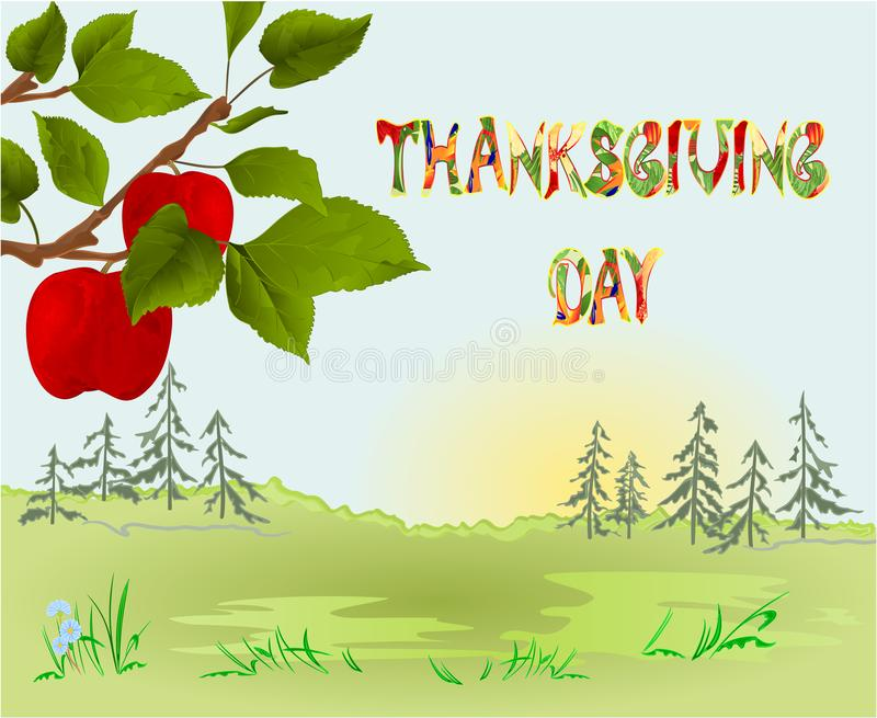 Happy Thanksgiving day Card beautiful autumn landscape on sunny background elegant text lettering, copy space Countryside fall fa stock illustration